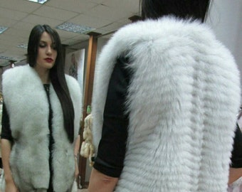 NEW! Natural,Real Full skin Blue FOX Fur Vest!