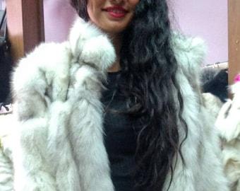 New,Natural Real  Blue FOX Fur Coat!