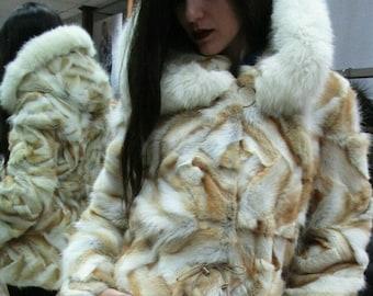 Natural Real Hooded golden Fox Fur jacket!