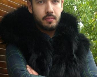 MEN'S!New HOODED Black Fox Fur VEST!