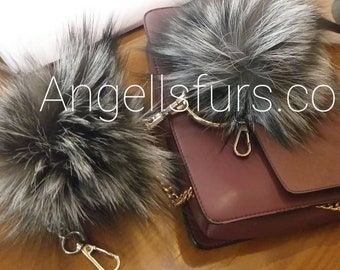 New! Real SILVER FOX POMPON-keychains!