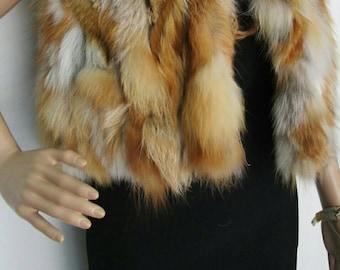 New!Natural Real Hooded Red Fox Fur bolero-short vest!!!