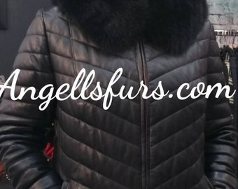 New Natural Real Black HOODED LEATHER Coat with Amazing FOX Collar!