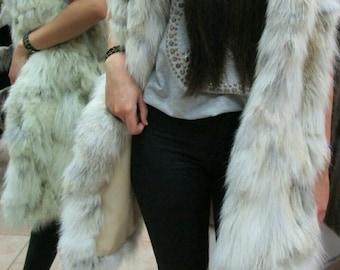 NEW! Natural,Real LONG Fox Fur Vest!!!