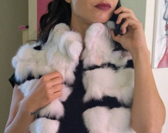 New Natural Real White and Black FOX Fur Vest!