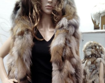 New Natural Real HOODED CRYSTAL FOX Fur Vest!