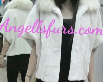 New fine Natural Real sheared Fullpelts Rabbit One Size Fur Top-Bolero-Vest!