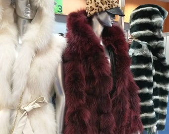 New,Natural Real Beautiful Hooded Bordeaux color Fox Fur Coat!