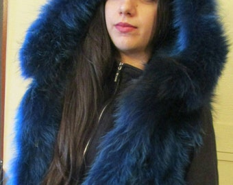 NEW!!! Natural,Real BLUE Royal color Raccoon fur Vest!