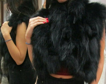 New!Natural Real Black Fox Fur bolero-short vest!!!