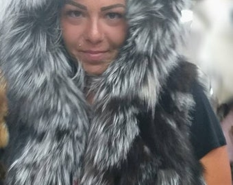 NEW! Natural Real HOODED Dark Silver Fox Fur Vest!