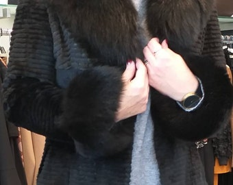 NEW Natural Real BLACK fullskin Rabbit Fur Coat with fox!