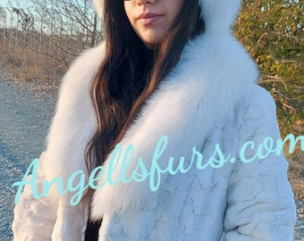New Natural Real WHITE MINK Fur jacket with FOX collar!