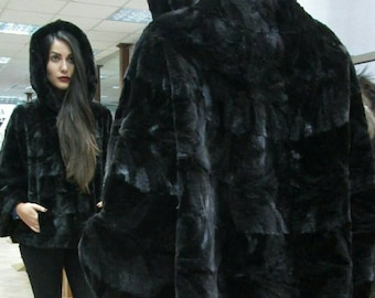 NEW!!! Fine Natural Real sheared MINK,ONE Size Hooded Fur Cape-Jacket in A-line!!!