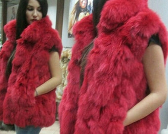 NEW Natural Real Bright Cherry Red FoX Fur Vest! Order Any color!