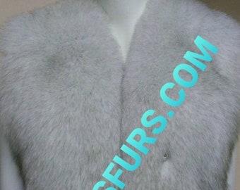MEN'S!New Real Natural full pelts Natural color BLUE FOX Fur Vest!