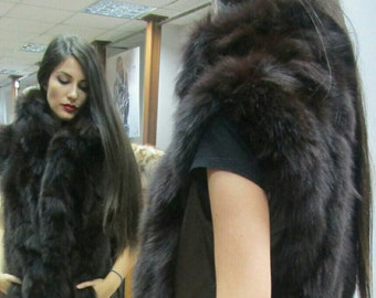 NEW! Natural,Rea,Сhocolate brown Fox Fur Vest with Leather!!!