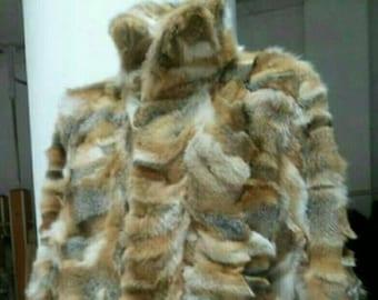 MEN'S New Real Natural Long Red Fox Fur COAT!