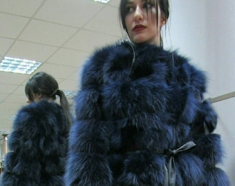 New,Natural, Real Modern BLUE Fox Fur jacket!!!