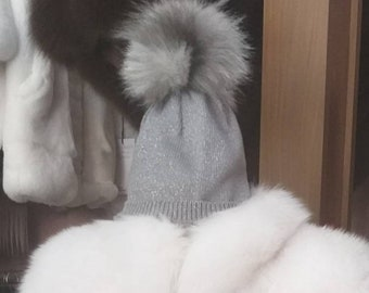 New!Modern beanie Caps in gray metallic color with Real Fox pompom on the top!