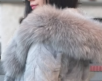 NEW!Natural Real Hooded MINK Fur Jacket with Fox!Order Any color!