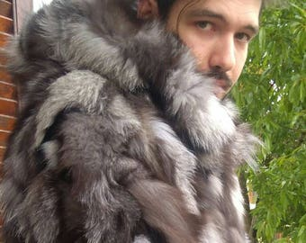 MEN'S New!Real Natural darker tone SILVER FOX Hooded Short Fur Jacket!