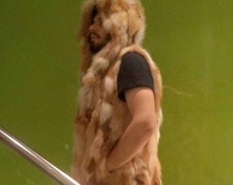 MEN'S!New HOODED Real Natural RED Fox Fur Vest