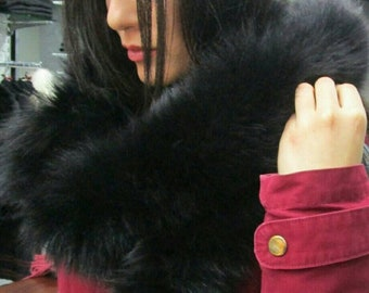 New!!!Natural Real BLACK Fur Fox  scarf! Unisex