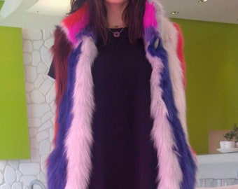ColorLove!NEW in,Natural,Real Fox Fur Vest