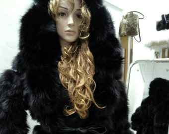 BLACK ELEGANCE!!!New,Natural, Real Modern Hooded Fox Fur Coat!