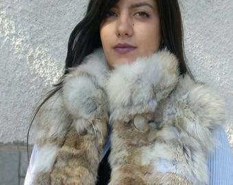 New!BEAUTIFUL Natural Real Coyote Fur vest with leather