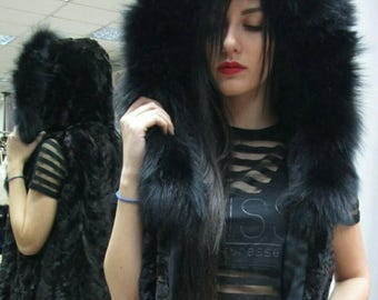 New!!!Natural Real  hooded sheared Mink Fur vest with Fox around hood!