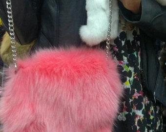 New,Natural,Real FOX Fur Bag in Pink colors!