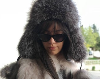New!Natural,Real Silver Fox Fur Trapper HAT! ONE SIZE!