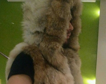 MEN'S!New HOODED Real Natural Coyote Fur Vest