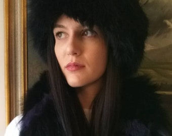 New!Natural,Real BLUE BLACK color Fox Fur HAT!