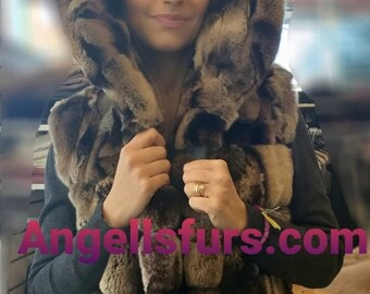 NEW! Natural,Real Hooded Long Rex fur vest in Light Brown Chinchilla color!