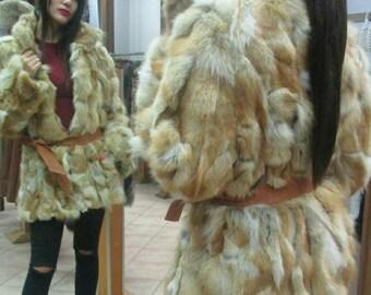 New,Natural Real Fur Red FOX  jacket!