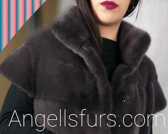 New!Natural Real High Quality Long Amazing GRAPHIT Color FULLSKIN MINK Fur vest!