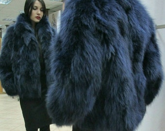 DIVE into the BLUE!New Natural Real Blue Color FOX jacket! Order in Any Color!