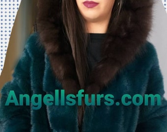 New Natural Real Amazing Color GREEN Fullpelts MINK fur Hooded  coat!