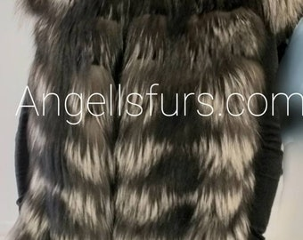 New model!Real Natural LONG SILVER Fullskin FOX Fur Vest!