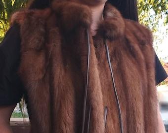 NEW! Natural,Real Fullskin MINK Fur Vest!