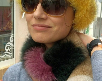 New!Natural Real Multicolored Fox scarf!