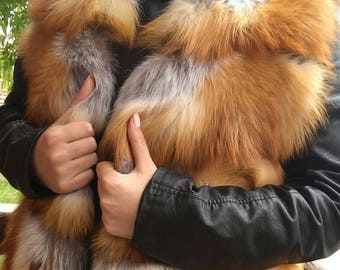 New!Natural Real Fullskin Red Fox Fur vest!