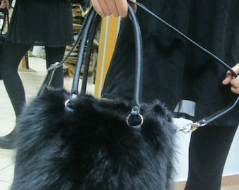 New!Natural,Real Black Fox FUR BAG!!!