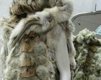 MEN'S!New Real Natural Long HOODED COYOTE Fur Vest!!!