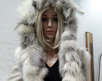 New Natural Real Hooded FOX fur Coat!