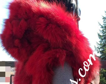 New Natural Real FLUFFY RED Hooded FOX Fur Vest!