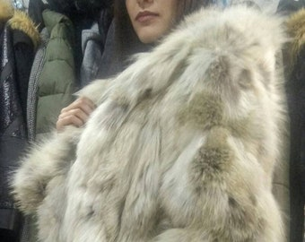 DETACHABLE SLEEVES!New,Natural Real Fox Hooded Fur Coat-Vest!